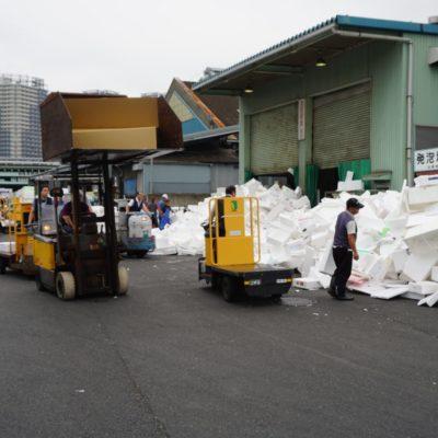 Berge von Styropor Müll