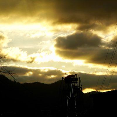 Das Riesenrad bei Sonnenuntergang