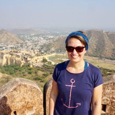 Blick vom Jaighar Fort auf das Amber Fort